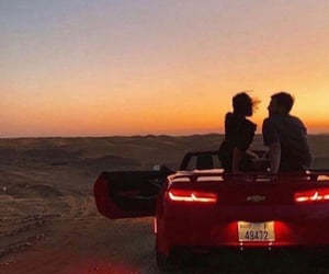 red, sunset, and love image