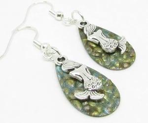 mermaid earrings, stocking stuffer gifts, and patina mermaid jewelry image