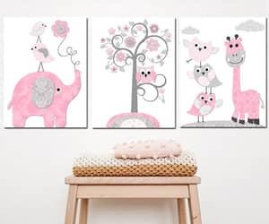 etsy, playroom decor, and pink gray image