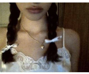braids, lace top, and necklace image