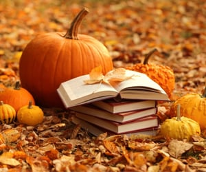 autumn, book, and pumpkins image