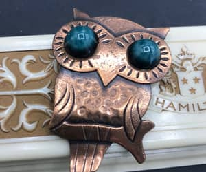 etsy, figural owl brooch, and vintage jewelry image