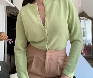 cardigan, green, and cozy image
