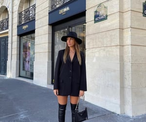 black hat, outfit of the day ootd, and black blazer dress image