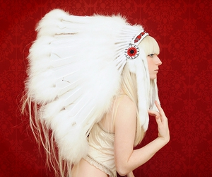 feather, girl, and headdress image