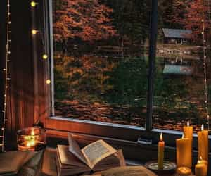 autumn, candle, and book image