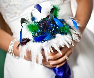 bouquet, girl, and pin image