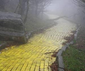 fog and yellow brick road image
