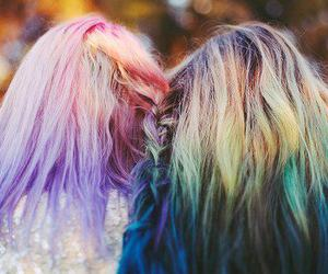 hair, friends, and blue image