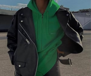 hoodie and leather jacket image