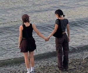 beach, couple, and friendship image