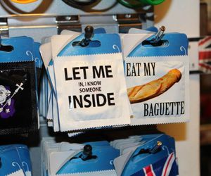 baguette, condom, and london image