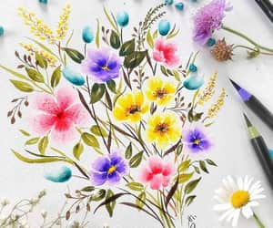 watercolor painting, flower painting, and floral painting image