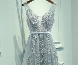 evening gown, fashion, and gray prom dress image
