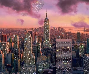 glitter, city, and sky image