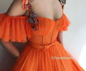 dress, gown, and orange outfit image