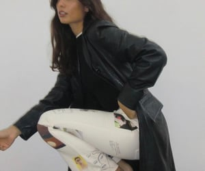 fashion, leather jacket, and outfit image
