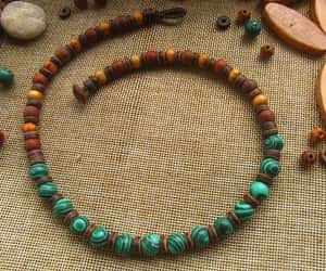 beaded necklace, boho style, and hippie necklace image