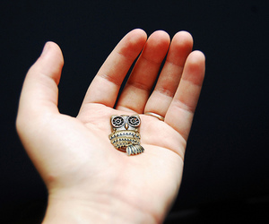 hand, necklace, and owl image