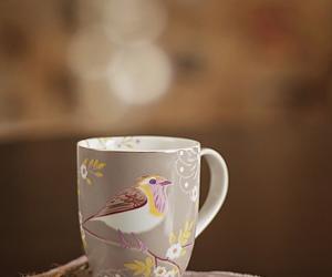 bird, mug, and pastel image