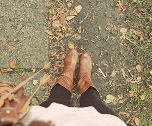 boots, autumn, and leaves image