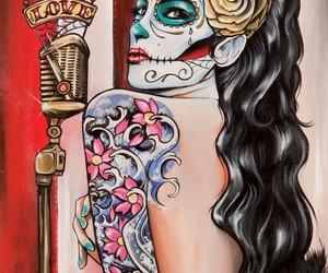 tattoo, art, and skull image