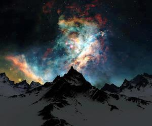 mountains, sky, and stars image
