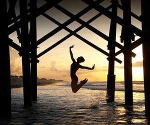 dance, sunset, and sea image