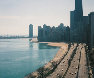 city, chicago, and beach image