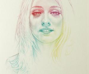 drawing, rainbow, and long hair image