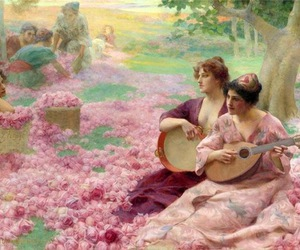 art, pink, and roses image