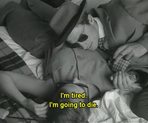 black and white, subtitles, and breathless image