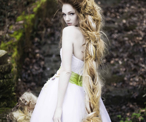 dress, long hair, and hair image