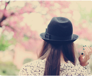 girl, hat, and pastel image