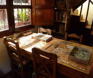 kitchen, rustic, and puzzle image