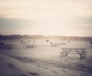 photography, picnic table, and sand image