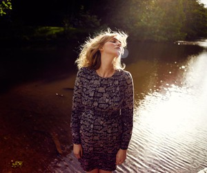 blond, wind, and nature image