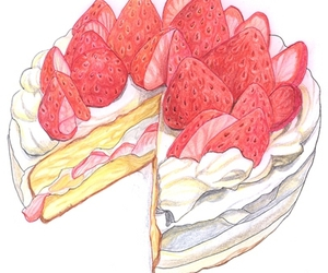strawberry, cake, and illustration image