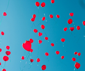 rainbow, balloons, and red image