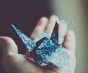 origami, blue, and hand image