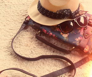 hat, bag, and summer image