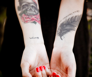 tattoo, skull, and feather image