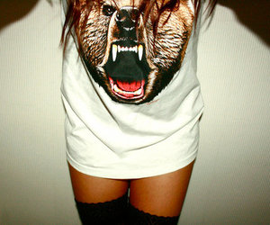 girl, bear, and shirt image