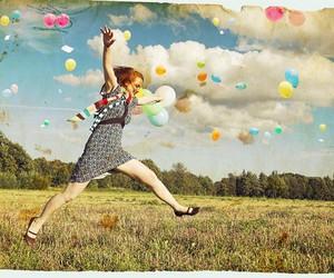 girl, balloons, and jump image