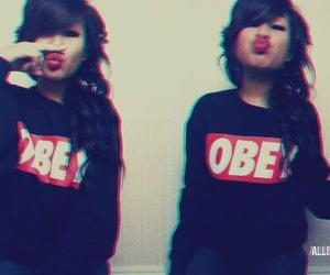 black hair, girl, and obey image