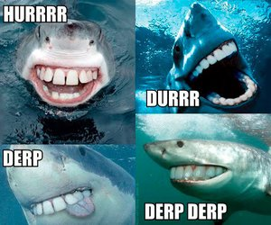 derp, sharks, and teeth image