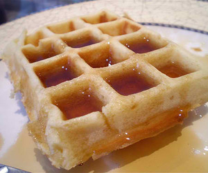 breakfast, maple syrup, and waffles image