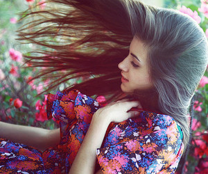 dress, floral, and hair image