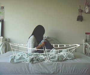 girl, boat, and bed image