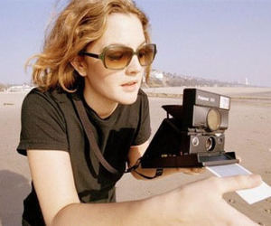 drew barrymore, camera, and polaroid image
